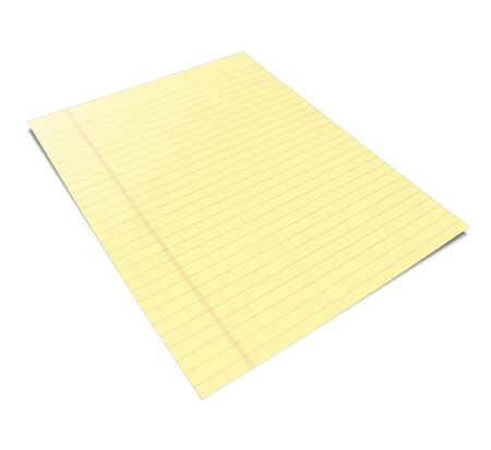 writing pad: 3d Illustration of a notebook with yellow leaves Stock Photo