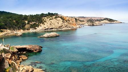 イビサ島、スペインの地中海の島からの景色 写真素材