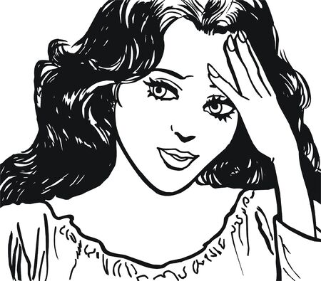 face of a beautiful woman, drawn with old comic style Stock Photo - 8835882