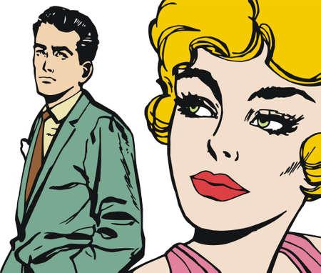 enamorados caricatura: Vida com�n de ilustraci�n de una pareja de amantes