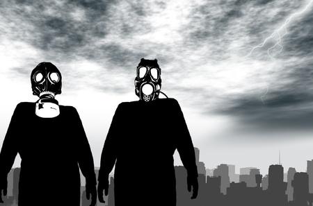 Illustration of a man with anti radiation mask Stock Illustration - 8924661