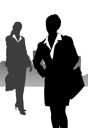 Illustration with business women in the big city illustration