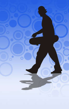 illustration of teenager with skateboard Stock Illustration - 8989771