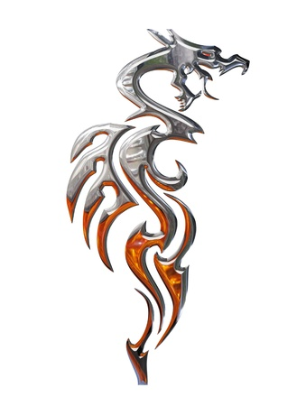 tatouage dragon: Illustration of a chrome dragon on a white background Banque d'images