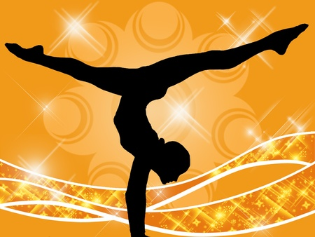 Illustration of a young girl doing gymnastics Banque d'images - 8989785
