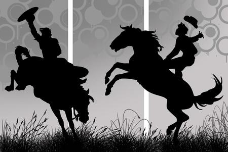 Illustration of a cowboy riding his horse illustration