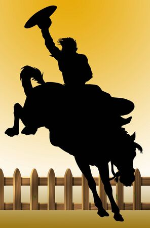 Illustration of a cowboy riding his horse Stock Illustration - 9083532