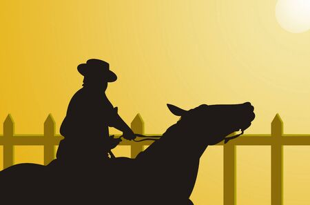 Illustration of a cowboy riding his horse illustration