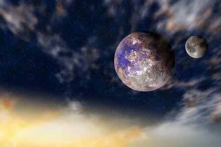 星の背景にいくつかの惑星と宇宙観 写真素材