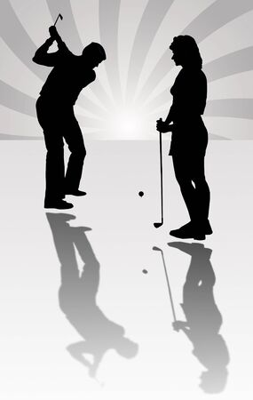 Silhouette of a golfer in full use photo