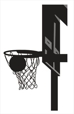 Silhouette of a basketball going into the basket photo