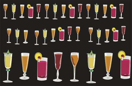 illustration with several cups and glasses of different colors illustration