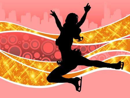 silhouette femme: Illustration d'une femme de patinage sur une patinoire