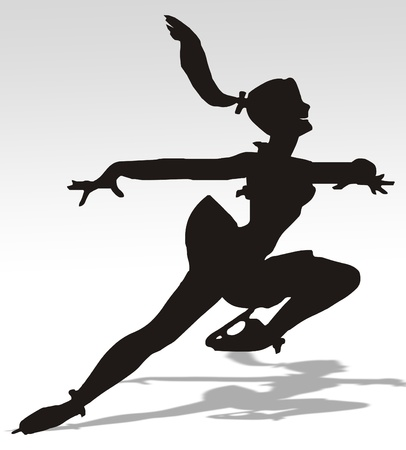 Illustration of a woman skating on an ice rink illustration