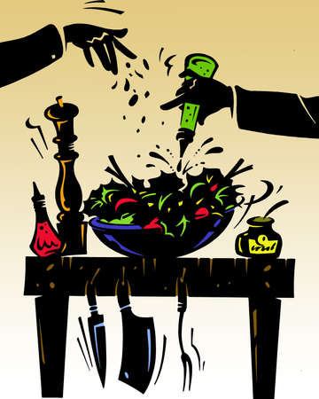 illustration of a table with food illustration