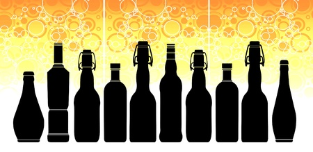 liquor: Illustration with bottles of different shapes and sizes