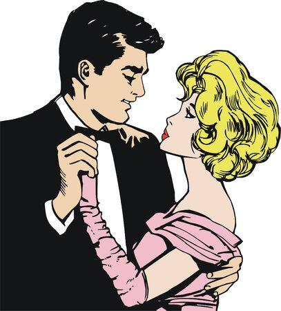 enamorados caricatura: pareja de amantes Foto de archivo