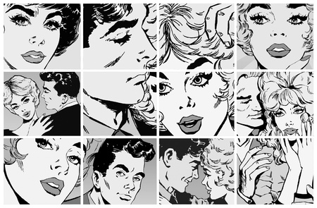 comics: collection of portraits of young couples in love Stock Photo