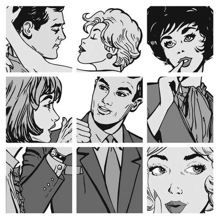 collection of illustrations young couple in love illustration
