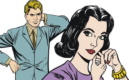 enamorados caricatura: colecci?e ilustraciones de una pareja de j?es enamorados