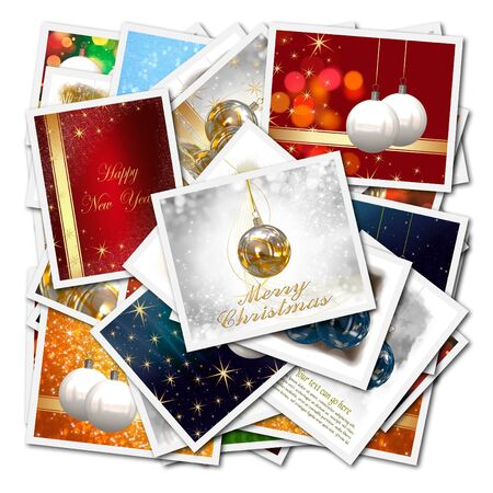 Christmas balls collage background photo