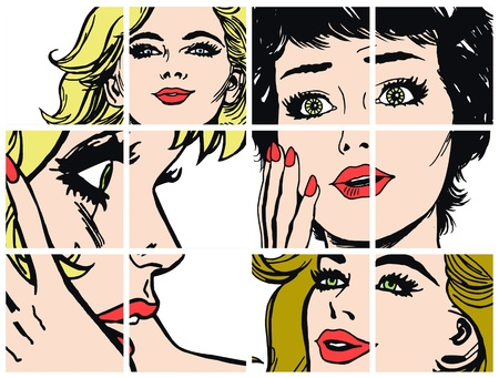 blonde hair cartoon: Illustration with collection of portraits blondes and brunettes Stock Photo