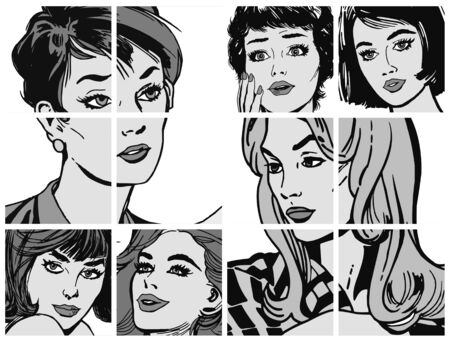 Illustration with collection of portraits blondes and brunettes illustration