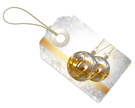 3d Christmas tag on a white background  photo