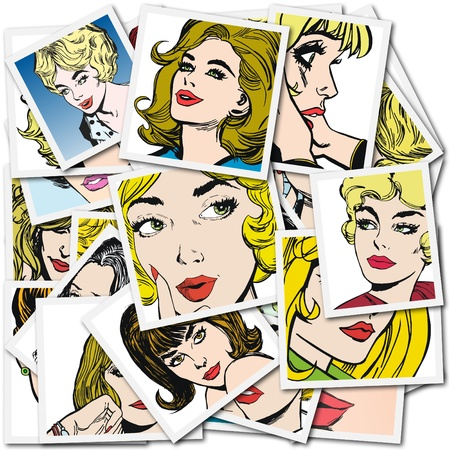 blond brown: Illustration with collection of portraits blondes and brunettes Stock Photo