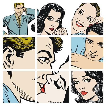 jovenes enamorados: Colección de ilustraciones que muestran las parejas de enamorados Foto de archivo