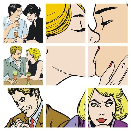 innamorati che si baciano: Raccolta di illustrazioni che mostrano coppie in amore