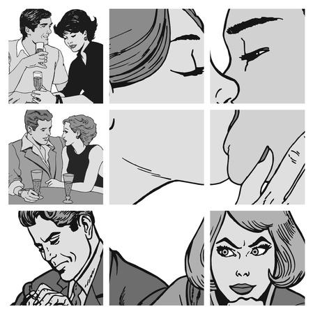 enamorados caricatura: Colección de ilustraciones que muestran las parejas de enamorados Foto de archivo