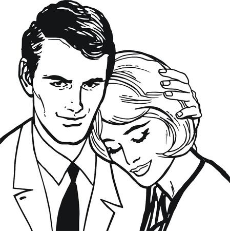 jeune vieux: Illustration d'un couple dans l'amour Banque d'images