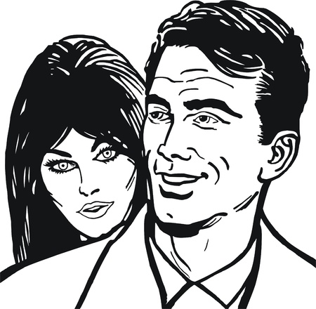 black man white woman: Illustration of a couple in love