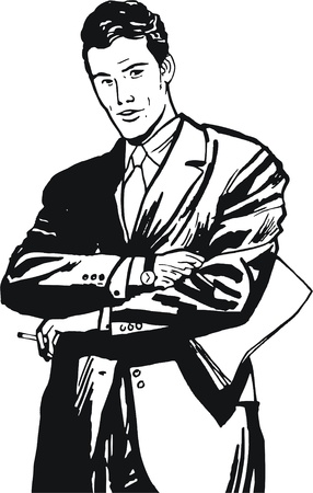 illustration of a businessman, drawn in comic style illustration