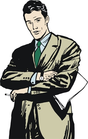 illustration of a businessman, drawn in comic style Stock Illustration - 13125599