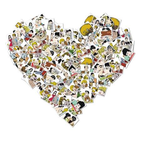 enamorados caricatura: ilustración de la vendimia, pareja de enamorados Foto de archivo
