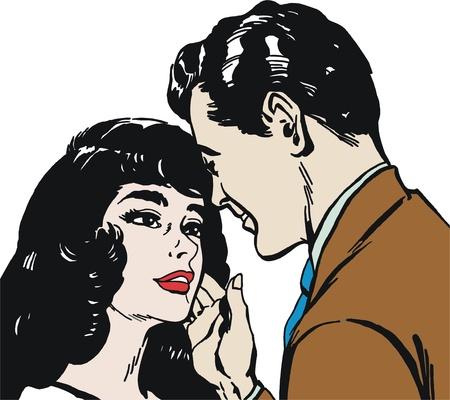 vintage Illustration ,isolated romantic couple of lovers illustration