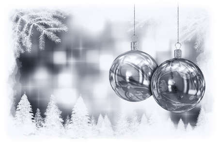 Christmas balls card illustration  Stock Illustration - 15614133