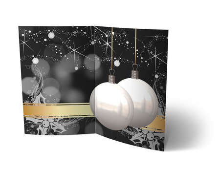 isolated 3d Christmas Balls brochure, Card Illustration Stock Illustration - 16023400