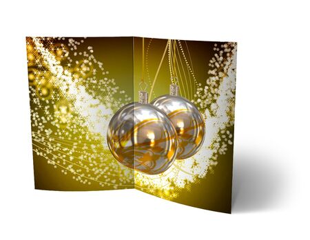 3 d glasses: isolated 3d Christmas Balls brochure, Card Illustration Stock Photo
