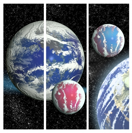 Illustration of space background with planets and stars illustration