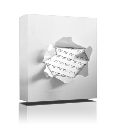 3 d: box on white background