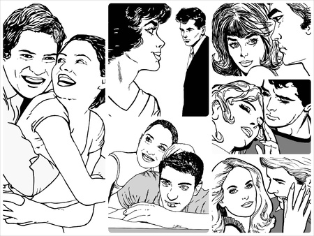 Collection of illustrations showing couples in love illustration