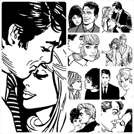 enamorados caricatura: Colecci?n de ilustraciones que muestran parejas en el amor