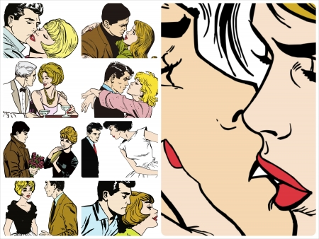 romantic kiss: Collection of illustrations showing couples in love