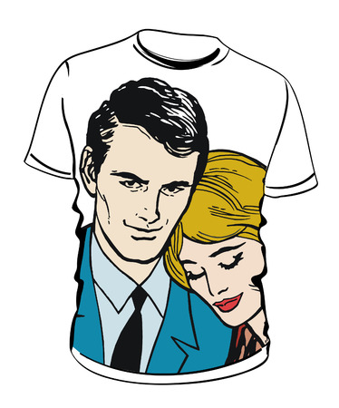 lovers couple shirt with illustration illustration