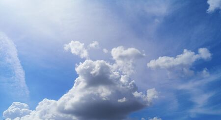 Stratocumulus white clouds in the blue sky natural background beautiful nature space for write Stockfoto