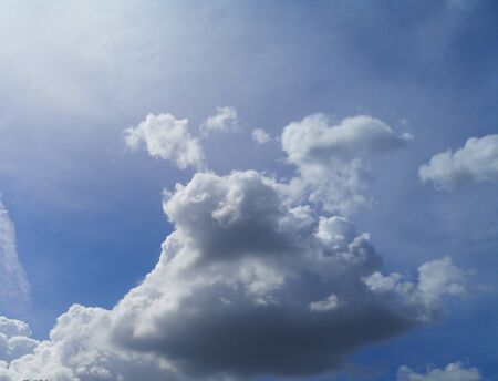 Stratocumulus white clouds in the blue sky natural background beautiful nature space for write Zdjęcie Seryjne