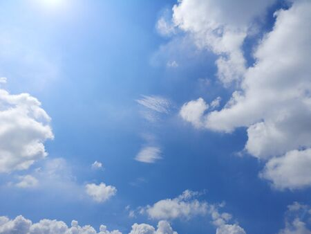 white clouds in the blue sky natural background beautiful nature environment space for write